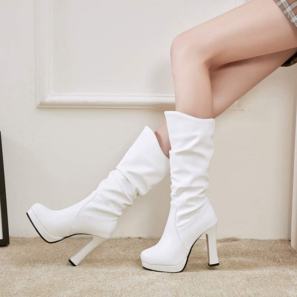 Platform Black White Women Shoes Woman Slip On High Heels Mid Calf Boots Winter Add Fur Party Bottine Shoes