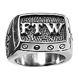 INRENG Men's 316l Stainless Steel FTW Punk Biker Rings Vintage Carved Letters Band Silver Gold Black