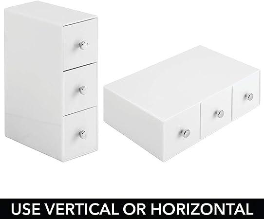 mDesign Organizzatore Scrivania Ufficio per Fermacarte Nastro Note Evidenziatori Bianco 3 Cassetti