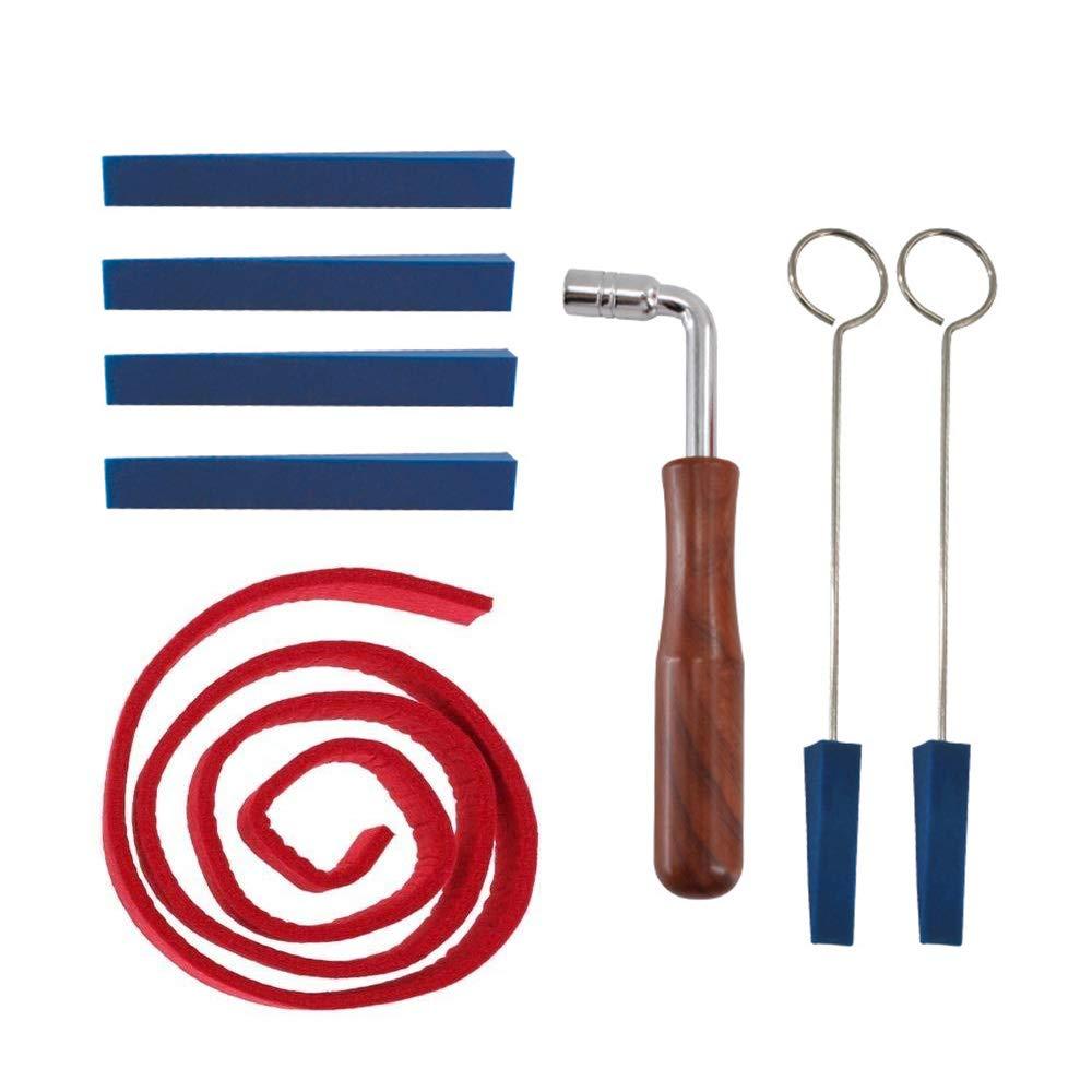 8pcs Piano Tuning Tuner Tool Kit Wrench Hammer Rubber Mute Felt Temperament Strip Fixing Tool Set Kit