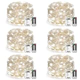 Warmtaste 6 Pack Fairy Lights Fairy String Lights, 8 Modes Remote Control 50 LED 16.4ft String Lights Copper Wire Battery Operated Waterproof Firefly Lights for Bedroom Wedding Festival Decor