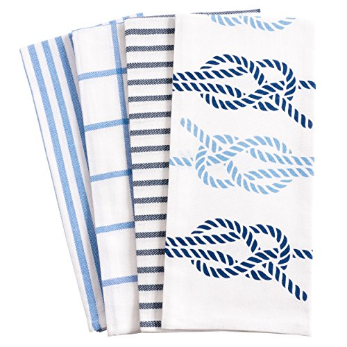 KAF Home Pantry Nautical Knots Kitchen Dish Towel Set of 4, 100-Percent Cotton, 18 x 28-inch (Nautical Set Kitchen)
