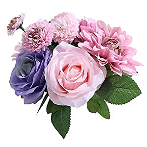 LeLehome Bridal Bouquet Flower Arrangement Home Decorative Real Touch Silk Artificial Floral Decor - Rose, Daisy, Dahlia, for Wedding Decoration, Birthday Bunch, Hotel Party Garden - MIX Color 69