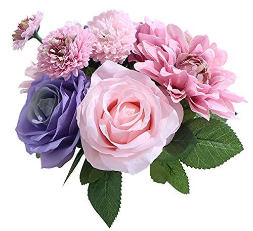 LeLehome Bridal Bouquet Flower Arrangement Home Decorative Real Touch Silk Artificial Floral Decor - Rose, Daisy, Dahlia, for Wedding Decoration, Birthday Bunch, Hotel Party Garden - MIX Color