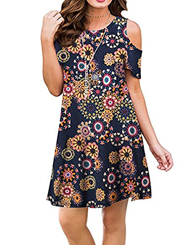 CAIYING Women Casual Cold Shoulder Floral Print Sundress T-Shirt Dress with Pockets (Multicolored Flower, L) ()