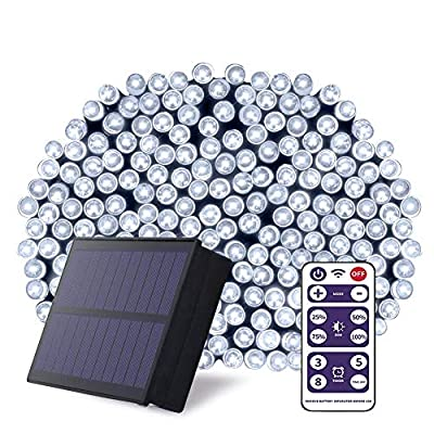NSEN Solar String Lights, 200 LED Outdoor String Lights, 72ft Christmas Fairy Lights, 8 Modes Solar Powered Waterproof Timer for Indoor Garden Home Wedding Holiday Party