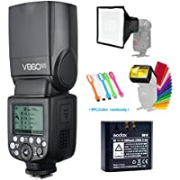 Godox V860II-O TTL GN60 2.4G High-Speed Sync 1/8000s Li-ion Battery Camera Flash Speedlite for Olympus Panasonic+15x17cm Softbox & Filter +USB LED Free gift