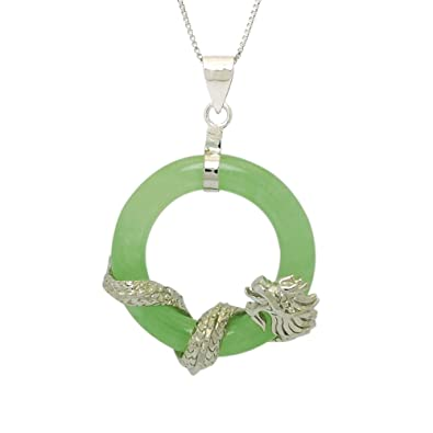 Amazon sterling silver green jade circle pendant necklace with sterling silver green jade circle pendant necklace with dragon on chain 18quot mozeypictures Image collections