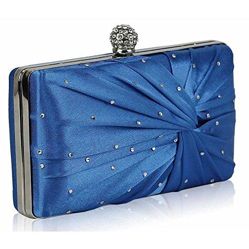 TrendStar Damen Kupplungs Taschen Damen Konstrukteur Abend Abschlussball Partei Satin Kupplungs Taschen Blau