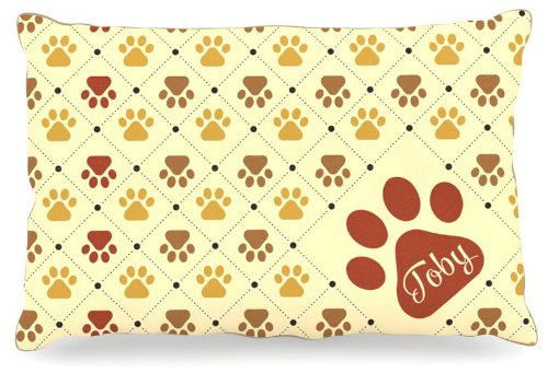 Kess InHouse KESS Original Toby  Paw Checkered Pattern Name Fleece Dog Bed, 30 by 40-Inch, Red Yellow Tan Brown