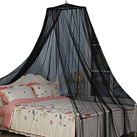 Camping or Bedroom Fit A King Size Bed Circular Mosquito Netting Diamond Canopy for Indoor//Outdoor Black