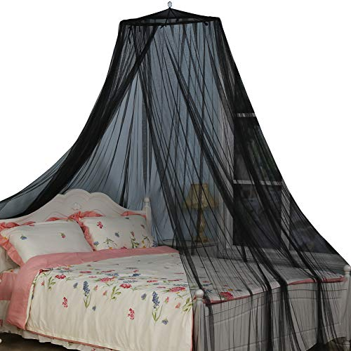 South To East King Size Bed Canopy, Black Color Mosquito Net for Indoor/Outdoor, Camping or Bedroom Fit A King Size Bed, Made by Fire Retardant Fabric Bedroom King Size Canopy Bed