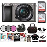 Cheap Sony Alpha a6000 Camera w/ 16-50mm Lens, Two 64GB SD Card Bundle – Graphite