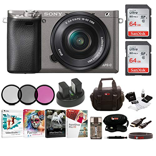 Sony Alpha a6000 Camera w/ 16-50mm Lens, Two 64GB SD Card Bundle - Graphite from Sony