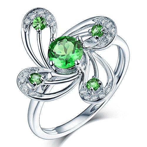 Lanmi Beauty Women Rings 14kt White Gold Natural Diamond Engagement Green Tsavorite Rings