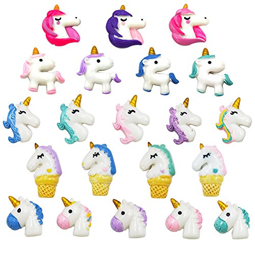 21 Pieces Unicorn Fridge Magnets Slime Charms Office Kitchen Refrigerator Whiteboard Dry Erase Board Cute Fun Handmade DIY Crafts Decoration Colorful -