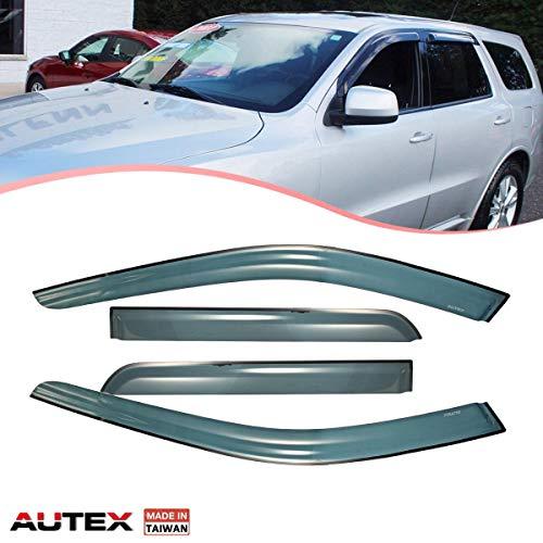 AUTEX Tape on Window Visor Compatible with Dodge Durango 2011 2012 2013 2014 2015 2016 2017 2018 Side Window Wind Deflector Sun Rain Guard