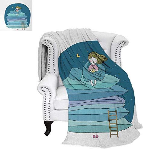 - Custom Design Cozy Flannel Blanket Little Girl Sitting on The Top of a Pile of Pillows Drinking Milk Night Bedtime Weave Pattern Blanket 80