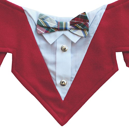 Plaid Bow Tie Pet Costumes (Dr. Seuss Formal Dog Bandana with Plaid Bow Tie and Buttons (Large))