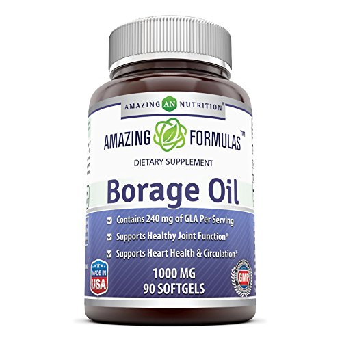 Amazing Formulas Borage Oil Dietary Supplement - 1000mg Capsules -90 SoftGels Per Bottle - 240mg Gamma Linoleic Acid (GLA) and 380mg Linoleic Acid -90 SoftGels Per - Softgels Borage