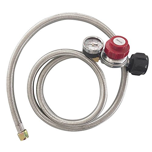 MENSI 0-30PSI High Pressure Adjustable Propane Regulator with Braided Hose 60inches