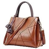 Women Leather Cowhide Handbag Top Handle Bags Crossbody Purses and Handbags (Brown)