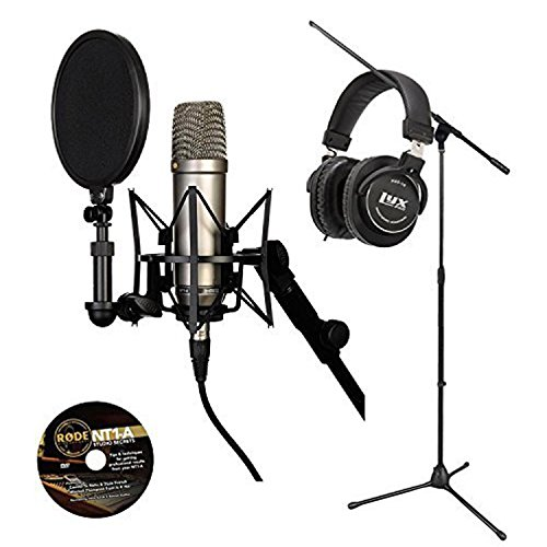 Microphone Recording Package: Rode NT1-A Cardioid Condenser Microphone, Pop Shield, Shockmount, 20' Cable with LyxPro Studio Headphone and a Tripod Base Microphone Floor Stand - (Blue Dragonfly Condenser Microphone)