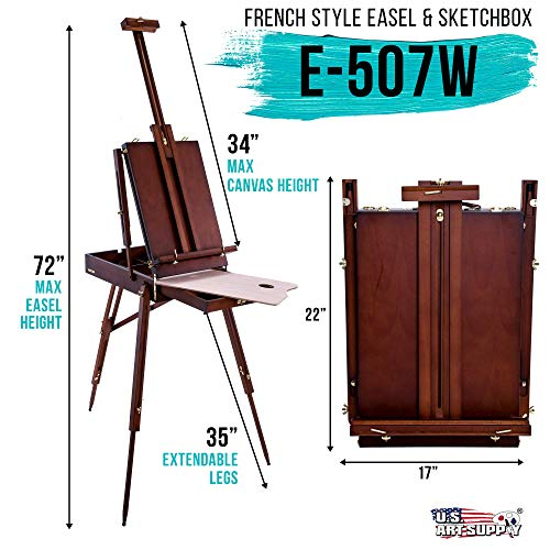 U.S. Art Supply Coronado Walnut Easel, Large Adjustable Wooden French Style Field and Studio Sketchbox Tripod Easel with…