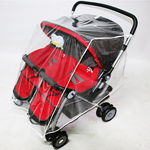 WINGOFFLY Rain Cover and Mosquito Net for Baby Twins Stroller Side by Side Universal Size Stroller Raincover Waterproof, Windproof and Anti-Insect by WINGOFFLY (Image #5)
