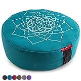 "Peace Yoga Zafu Meditation Yoga Buckwheat Filled Cotton Bolster Pillow Cushion with Premium Designs - Mandala Turquoise 16"" x 16"" Inch"