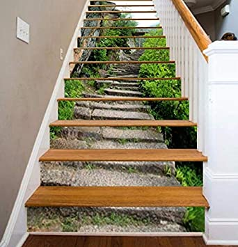 FLFK 3D Pasos de piedra auto-adhesivos Pegatinas de Escalera pared ...