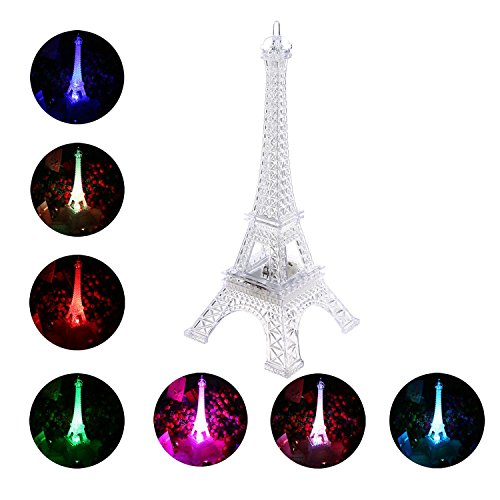 Leegoal(TM) Colorful Eiffel Tower Nightlight Desk Bedroom Decoration 7 Colors LED Lamp Paris Fashion Style Acrylic Decoration Gift, 9.8inch