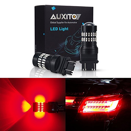 AUXITO Brilliant Red 3157 LED Bulbs Extremely Bright 48-SMD 4014 LED Chipsets 3156 3057 4057 4157 LED Bulbs with Projector for Brake Lights (Pack of 2) Trailblazer Brake Lights
