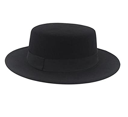 Amazon.com  ASTRQLE Classic Black Fashion Fedora Flat Hat Elegant ... 9fa6103bfdf