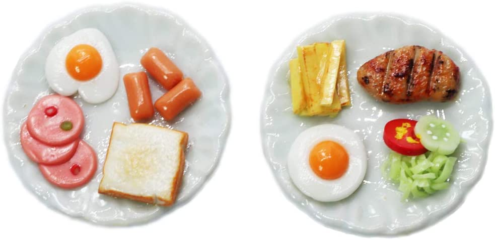 ThaiHonest Mixed 2 Assorted Breakfast Set and Steak Dollhouse Miniature Food,Tiny Food