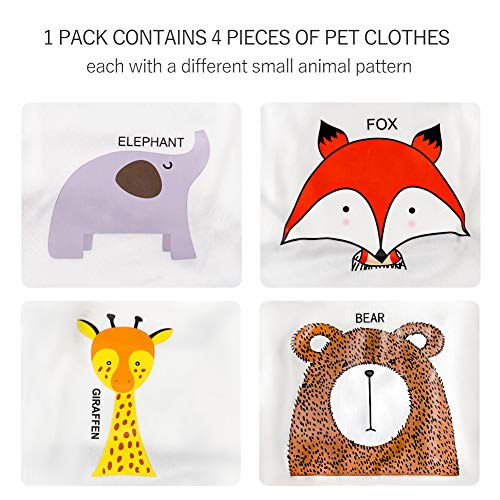 4 Pack Dog Shirts with Animal Patterns Dog Clothes, Cute, Quick Dry Soft Stretchy Fit for Small Dogs Cats (Small)