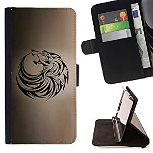 - Wolf Tribal Tattoo Ink Black Brown Hound/ Personalized Design Custom Style PU Leather Case Wallet Flip Stand - Cao - For LG Volt 2 / LG G4 Mini (G4c)
