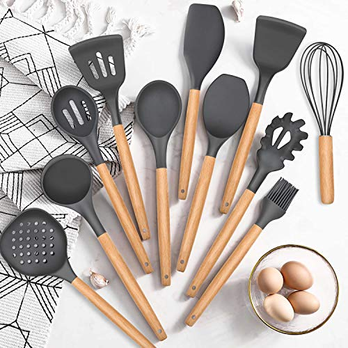 Homikit 30 Piece Kitchen Cooking Utensils with Holder, Heat resistant Silicone Spatula Set for Nonstick Cookware, Plus Metal Cooking Spatula Turner Dough Scraper, Wooden Handle, Black Gray