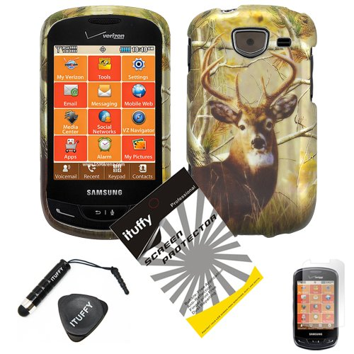 4-items-Combo-ITUFFY-Mini-Stylus-Pen-LCD-Screen-Protector-Film-Case-Opener-Silver-Pine-Tree-Leaves-Deer-Camouflage-Outdoor-Design-Rubberized-Snap-on-Hard-Shell-Cover-Faceplate-Skin-Phone-Case-for-Veri