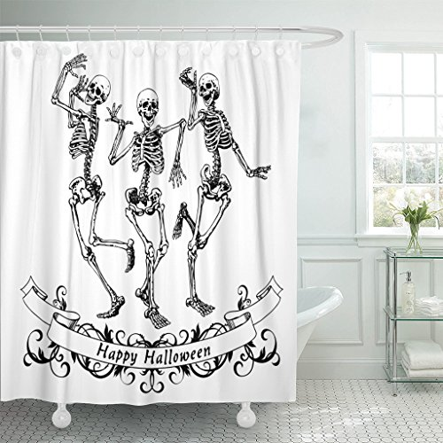 Emvency Fabric Shower Curtain Curtains with Hooks Dance Happy Halloween Dancing Skeletons Contour Graphics Funny Party Scary Drawing Fun Vintage Monochrome 60''X72'' Waterproof Decorative Bathroom by Emvency