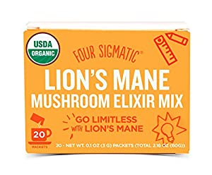 Four Sigmatic Organic Mushroom Elixir Mix with Lion's Mane and Antioxidants for Concentration + Focus, Vegan, Paleo, Gluten Free, 0.1 Ounce (20 Count)