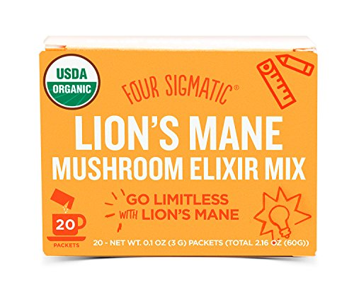 Four Sigmatic Organic Mushroom Elixir Mix with Lion's Mane and Antioxidants for Concentration + Focus, Vegan, Paleo, 0.1 Ounce (20 Count) (1 49 4)