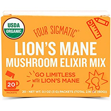 Four Sigmatic Organic Mushroom Elixir Mix With Lion S Mane And Antioxidants For Concentration Focus Vegan Paleo 0 1 Ounce 20 Count