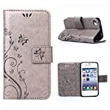 MOONCASE iPhone SE Wallet Case Flower Pattern Premium PU Leather Case for iPhone SE / 5S/ 5 Bookstyle Soft TPU [Shock Absorbent] Flip Bracket Cover Grey