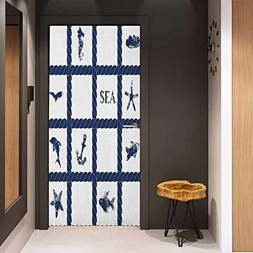 Onefzc Door Wall Sticker Navy Blue Navy Yacht Vessel Rope Used as Frame with Starfish Fish and Anchor Image Mural Wallpaper W23 x H70 Navy Blue and White