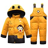 Boys' Girls' Ultralight Monkey Pattern Snowsuit Winter Puffer Jacket and Overall Two-piece Set (80cm, Yellow)