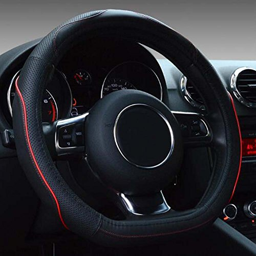 Flat Bottom Steering Wheel Cover - Genuine Leather D Cut Shaped Steering Wheel Cover Wrap 14.5