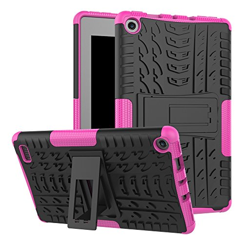 Maomi-Amazon-Fire-7-2017-release-CaseKickstand-FeatureShock-AbsorptionHigh-Impact-Resistant-Heavy-Duty-Armor-Defender-Case-For-Amazon-Fire-7-Inch-2017-Tablet-Pink