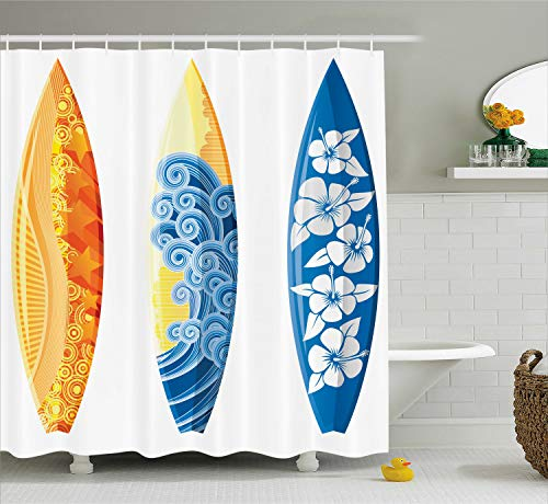 (Ambesonne Surf Decor Shower Curtain Set, Ornate Colorful Surfboards Vocation Fun Water Sports Moving Waves Lifestyle Art, Bathroom Accessories, 75 Inches Long, Blue Orange)