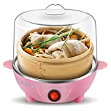 2 In 1 Multifunctional Electric Egg Boiler Household Egg Custard Steamer Egg Cookers for 7 Eggs with Measuring Cup Stainless Steel Plate